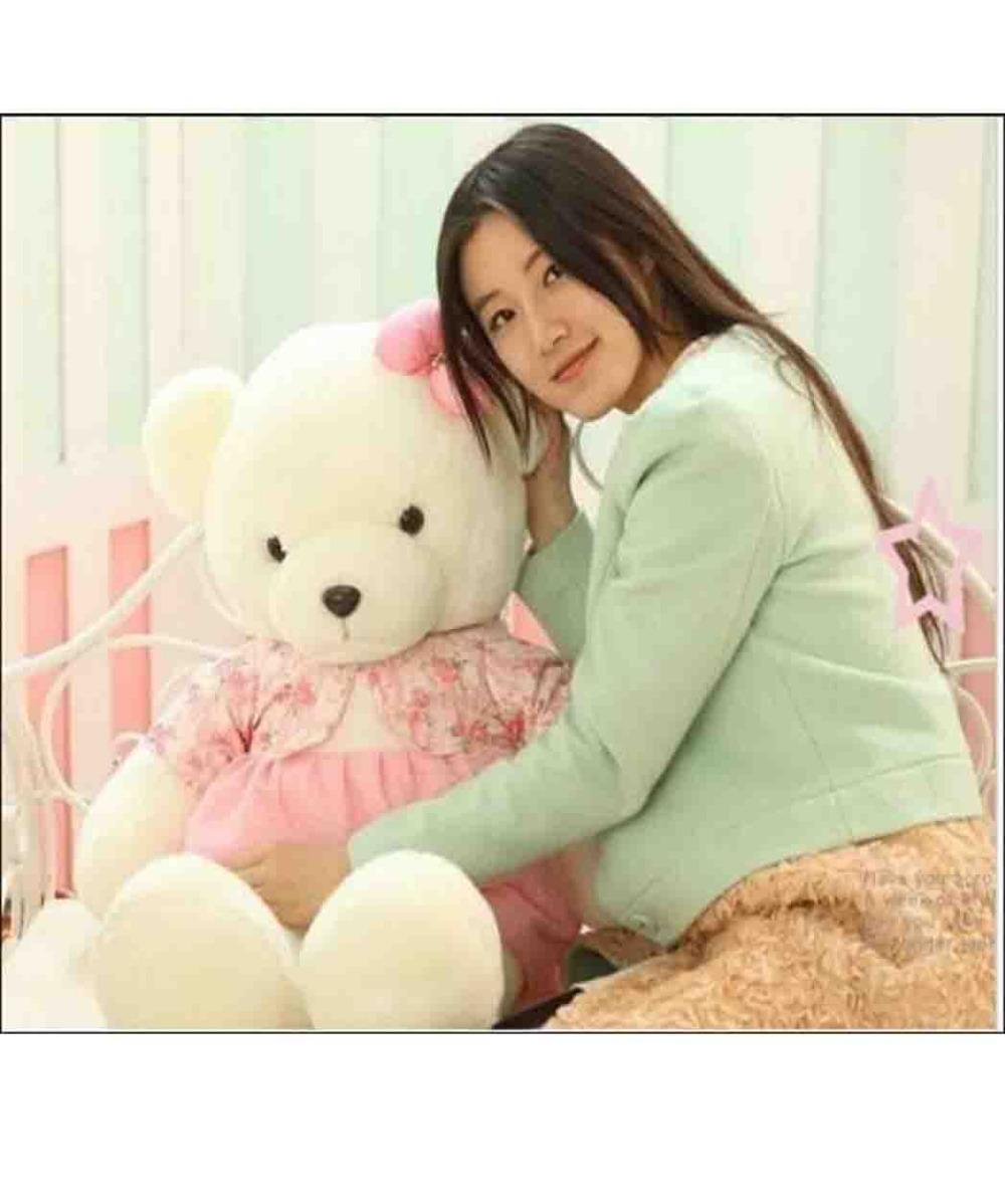 plush lovely pink skirt teddy bear toy big pink flowers coat bear doll(China (Mainland))