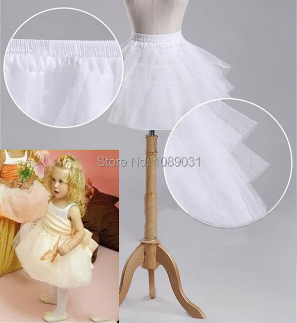 2016 New Children Petticoats 3 Layers Hoopless Short Flower Girl Dress Crinoline for Wedding Little Girls/Kids/Child Underskirt(China (Mainland))