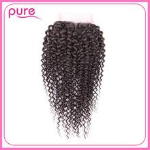 Dhl бесплатная доставка лучший 8A индийский странный вьющиеся волосы реми переплетения дешево кружева 4 * 4 необработанные индийский странный фигурные закрытие
