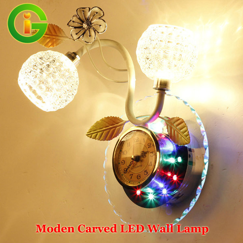 Manufunctional Modern Bedroom/Living room LED Lamp 220V Warm White/White LED Wall Lamps/Wall Clock<br><br>Aliexpress