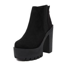 Gdgydh Mode Schwarz Stiefeletten Für Frauen Dicken Absätzen Frühling Herbst Flock Plattform Schuhe High Heels Schwarz Zipper Damen Stiefel(China)
