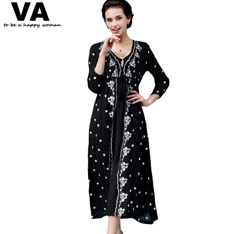 VA New 2016 Spring Womens Sexy V Deep Neck Embroidery Drawstring Desigual Hollow Floral Bohemia Black Long Maxi Dress W01360Одежда и ак�е��уары<br><br><br>Aliexpress