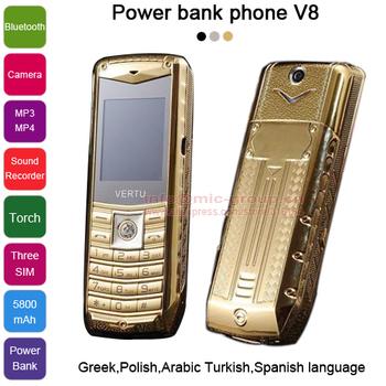 Русский испанский польский греческий арабский турецкий 3 сим-карты металлический корпус 5800 мАч зарядное устройство факел роскошный мобильный телефон V8 P226