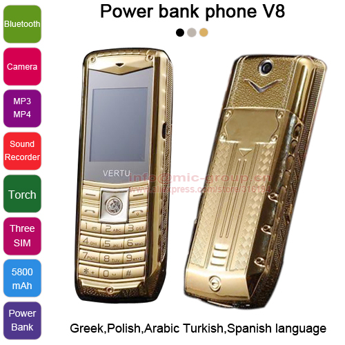 2015 Russian Spanish Polish Greek Arabic Turkish 3 SIM cards metal body 5800mAh power bank torch luxury mobile phone V8 P226(China (Mainland))