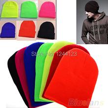 Women Men New Winter Solid Color Plain Beanie Knit Ski Cap Skull Hat Warm Cuff Blank Beany(China (Mainland))