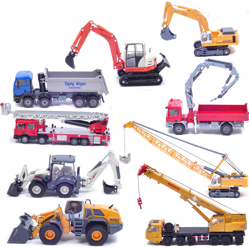 Famous brand Kaidiwei Discasts and vehicle Engineer car alloy model toy excavator fire engine crane fire truck child gift toy(China (Mainland))