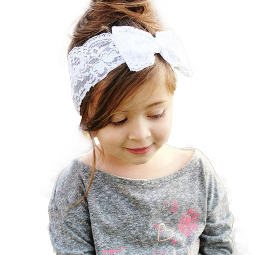 Hot Marketing 2015 New Fashion Girls Lace Big Bow Hair Band Baby Head Wrap Band Accessories May7 tanwc(China (Mainland))
