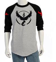 Brand Clothing 2016 Summer Fashion Men's T-shirt Pokemon Go Printing T Shirts Male Long Sleeve Tops Tee Plus Size XXXL JA2277