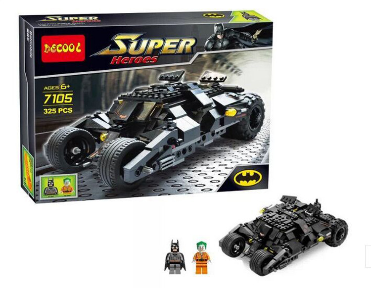 Hot Self Locking Bricks Baby learning toy Young people fight inserted blocks assembled Batmobile 7105