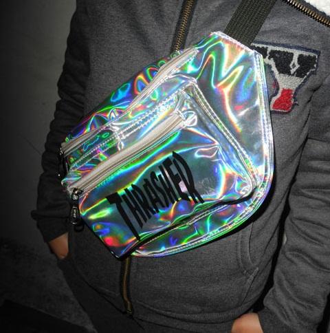 Ulz for za ng HARAJUKU laser colorful chest pack PU skateboard bag sports messenger bag(China (Mainland))