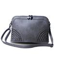 Nubuck Leather Shell Bag Women Trendy Fashion Chain Hand Bag Designer Chic Rivets Ladies Shoulder Bag