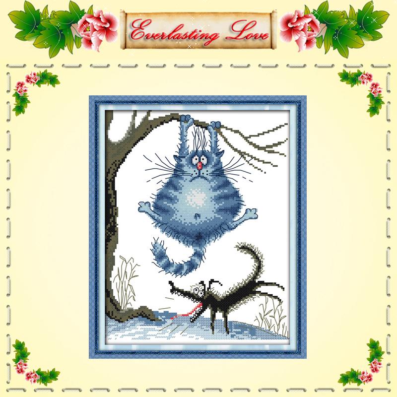 Fat cat wolf animal diy cartoon painting DMC 11CT pattern printed on fabric chinese Cross Stitch kits needlework embroidery Set(China (Mainland))