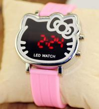 11 Colors Cute Hello Cat Watch For Girls Kids Jelly Silicone Led Wristwatch Children Cartoon Watch relogio infantil Clock LZ168(China (Mainland))
