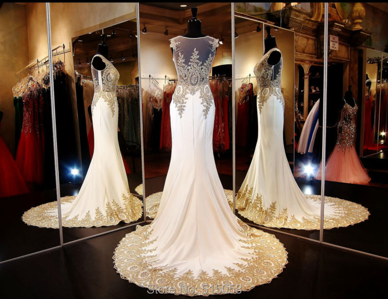 Real sample gold embroidery beaded long chiffon ivory for Wedding dresses with gold beading