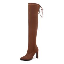 Esveva 2020 Trên Đầu Gối Giày Mùa Đông Ấm Giày Bốt Nữ Đàn + Vải Co Giãn Nền Tảng Xe Máy Khởi Động Thời Trang Kích Thước 34-43(China)