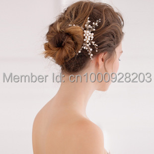 2015 gold flower rhinestone pearl bridal hair comb pin pieces wedding crystal accessories jewelry bride bridesmaid combs 9(China (Mainland))
