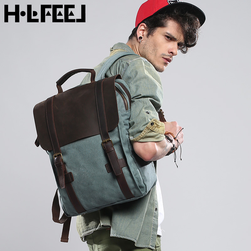 2015 Crazy horse leather + canvas backpack school bag female backpacks fashion casual travel bags for men women rucksack<br><br>Aliexpress