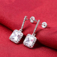 Four Colors 925 Sterling Silver Earrings Luxury Simulated Diamond Zircon Brincos Dangle Drop Earring for women Jewelry e505(China (Mainland))