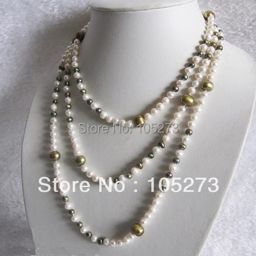 New Arriver Pearl Jewelry 60inch AA4-10MM Multi Color White Olive Natural Freshwater Pearl Necklace Strand Jewelry Free Shipping
