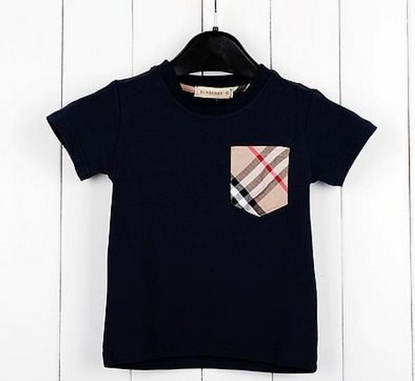 Hot Sale Children Kids Clothing Tees Children's T-shirt pocket plaid short-sleeved T-shirt boys summer baby t shirt(China (Mainland))