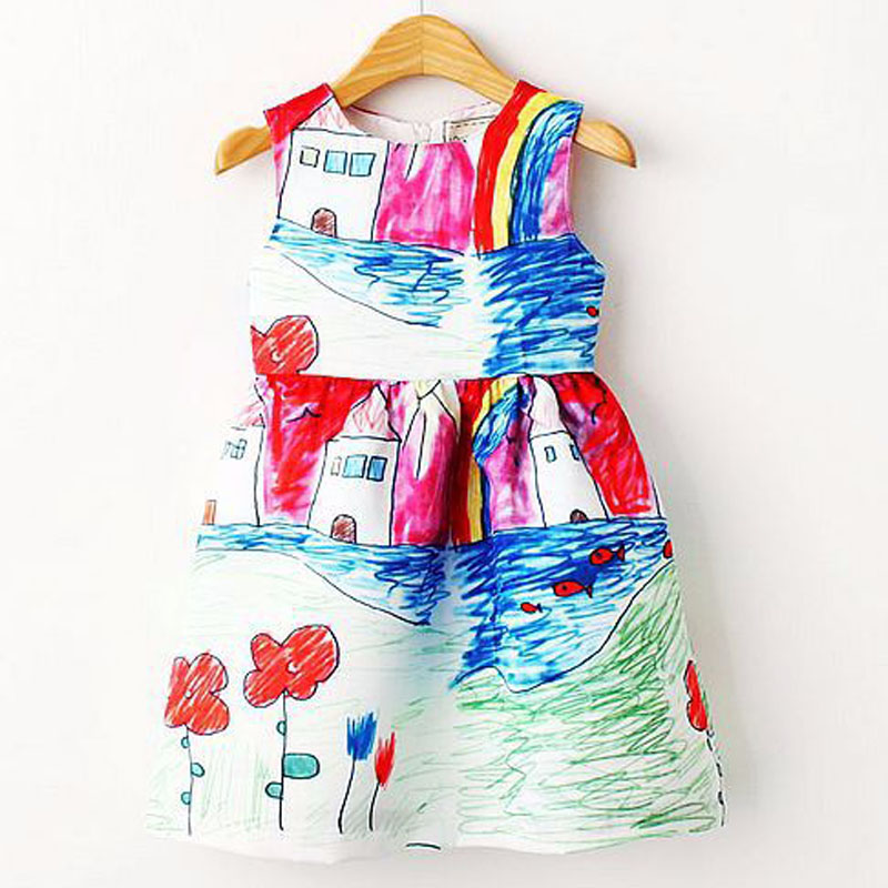 Colorful Girl Dress 2016 Summer Princess Dress Girl Designer Character Painting Kids Dresses for Girls Clothes Vetement Fille(China (Mainland))
