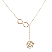 """2016 Fashion Infinity Lotus Lariat Pendant Necklace for Women 18"""" Link Chain Plant Lotus Flower Jewelry Necklaces Party Gifts (China (Mainland))"""