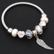 Trendy elastyczne metalowe paciorki antyczne oryginalny serce uroku bransoletki dla kobiet paciorki szklane marka bransoletka bransoletka bangle na prezent(China)