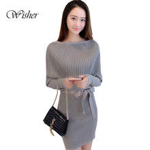 2016 Autumn Batwing Sleeve Women Pullovers Slim Bodycon Sweater Dress Vintage Knitwear Women Sweaters And Pullovers Pull Femme(China (Mainland))