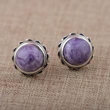 Buy 925 Silver Earring Women Vintage charoite beads S925 Thai Sterling Silver boucle d'oreille Stud Earrings for $29.69 in AliExpress store