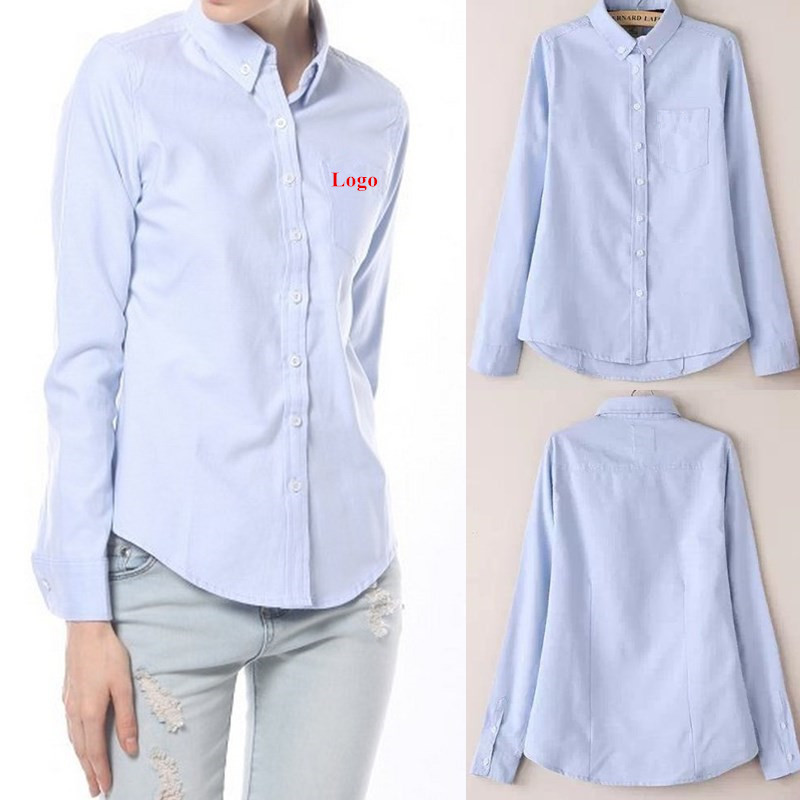 Womens Long Sleeve Oxford Blouses 35