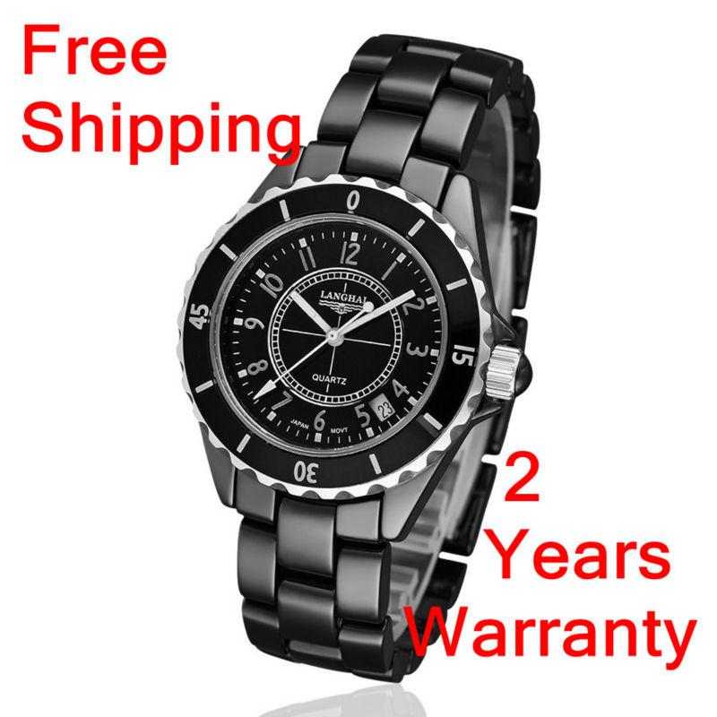 brand LANGHAI Wristwatches-Free shipping Black Ceramic Quartz Movement men's watches wholesale brand with Original box(China (Mainland))