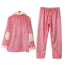 Song Riel autumn and winter 2015 cute Polka Dot flannel pajamas men and women couple home