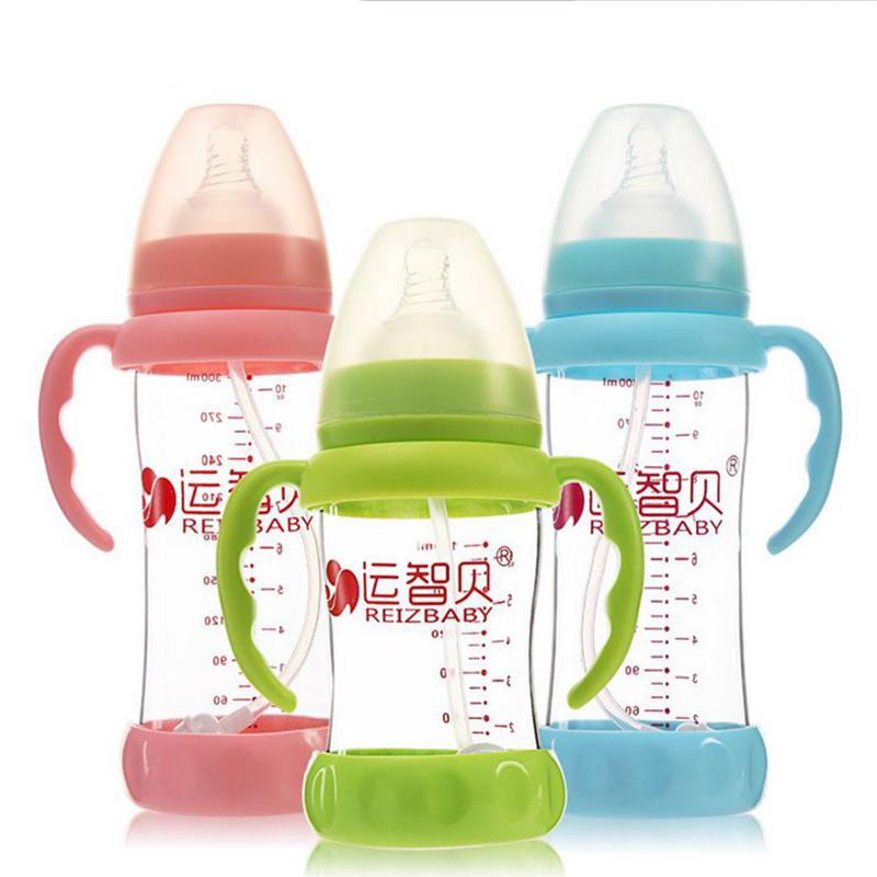 Neonatal Glass Bottle Wide Mouth Glass Bottle With Dust Cover Infant Anti-flatulence Baby Bottle Size180ml/240ml/300ml Daibing