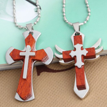 Clavicle chain retro rosewood cross pendants titanium steel wings necklaces for Men & women fashion jewelry(China (Mainland))