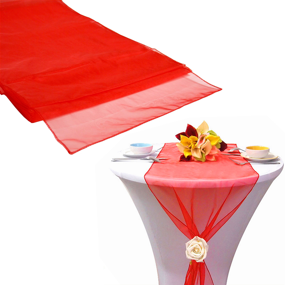"""12""""x108"""" / 30*275cm 10pcs High Quality Hot red Organza Table Runner for Wedding decoration Banquet Venue Decoration(China (Mainland))"""
