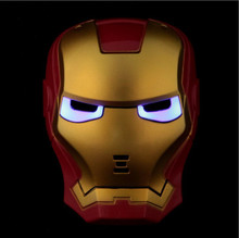 1pcs Cool Cosplay Glowing Iron Man Mask w/ Blue LED Eyes Halloween Make up Toy for Kids Boys