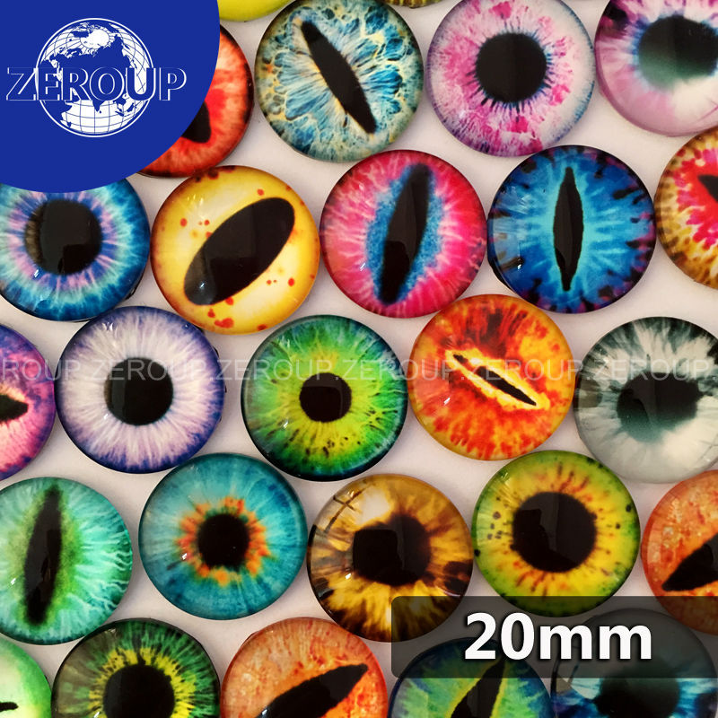 20pcs/lot 20mm Round Dragon Eyes Pictures Glass Dome Cabochon Mixed Pattern Fashion Ornament for DIY Flat Back Jewelry Finding(China (Mainland))