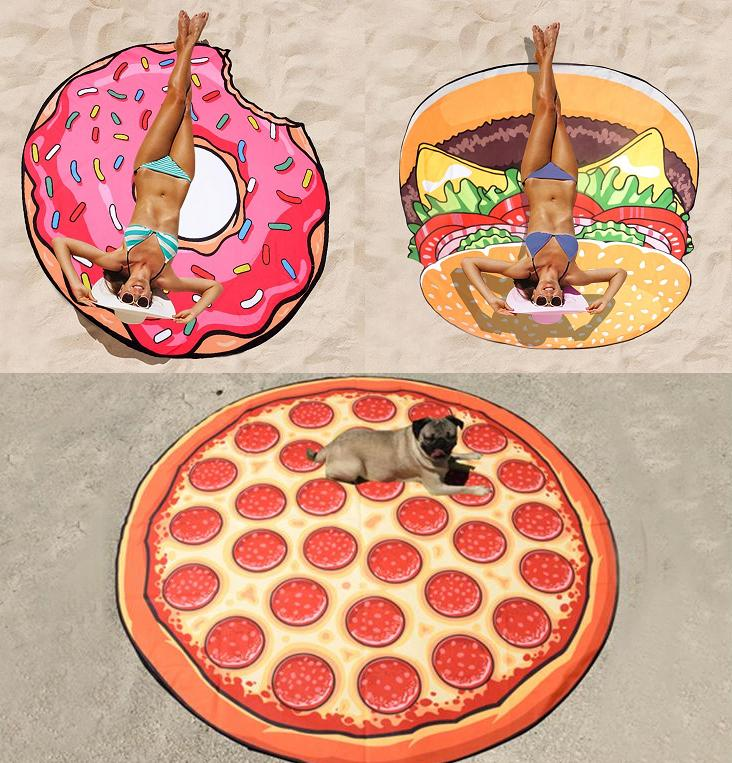 New Arrivals Quick Dry Donut Pizza Hamburg Round Beach Bath Towel Brand Toallas Big Swim Towels Serviette De Plage Free Shipping(China (Mainland))