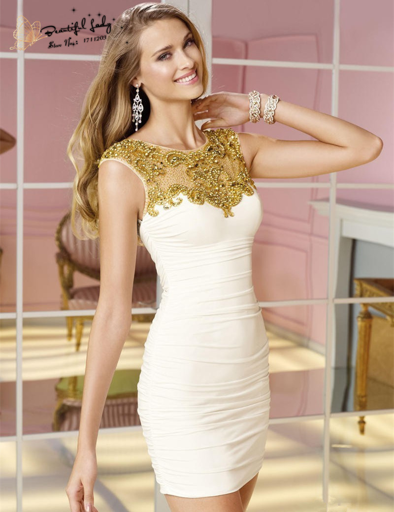 Gold and White Short Cocktail Dresses   Dress images