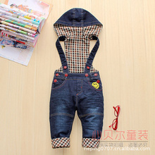 Spring Autumn winter baby boys and girls Jeans baby cartoon casual denim overalls denim blue trousers plus velvet hooded