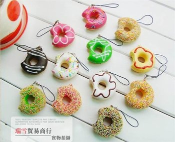 Retail donut squishy charm mobile phone strap pendant sweet keychain fashion cute promotion gift