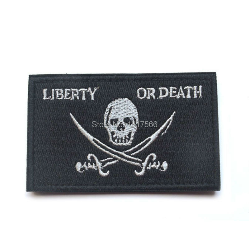 80*50mm Punisher LIBERTY OR DEATH Embroidered Badge Patches Military Tactical Clothing Backpack Baseball Badges Armband(China (Mainland))