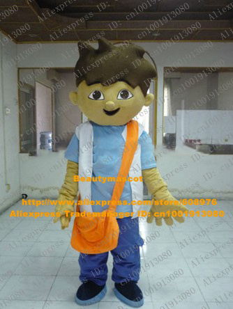 Happy Brown Diego Boy Mascot Costume Mascotte Dora The Explorer With Black Bushy Hairs Blue Shirt Happy Face No.7640 Free Ship(China (Mainland))