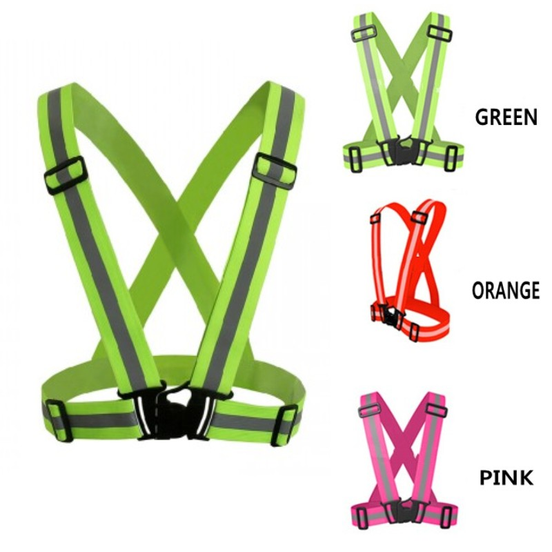 4 Color 360 Degrees High Visibility Neon Safety Vest Reflective Belt Safety Vest For Running Cycling Sports Chaleco Reflectante(China (Mainland))