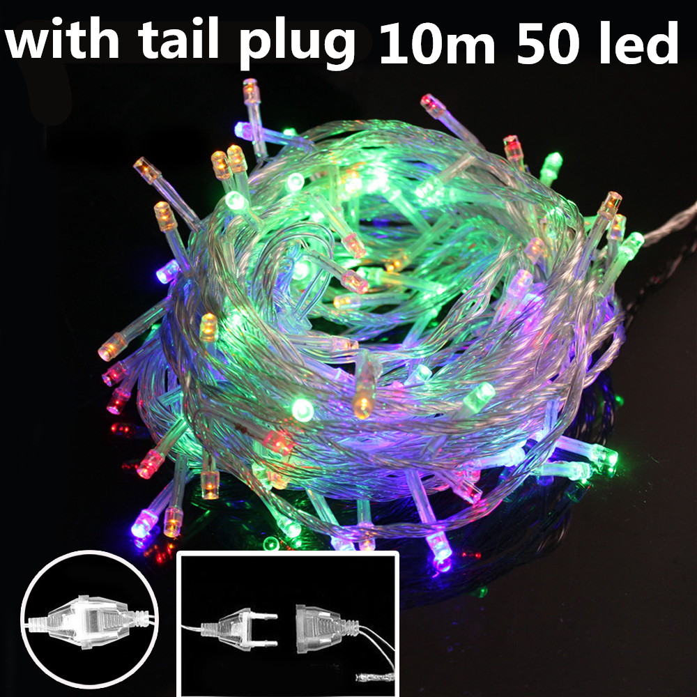 AC 110V/220V 10M 50Leds outdoor Led string lights fairy christmas light for Christmas Tree wedding party garland with tail plug(China (Mainland))