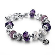 2015 925 Sterling Silver Jewelry Charm Murano Beads Fit Pandora Bracelets For Women Charm Bracelets & Bangles Pulseras SBR150044(China (Mainland))