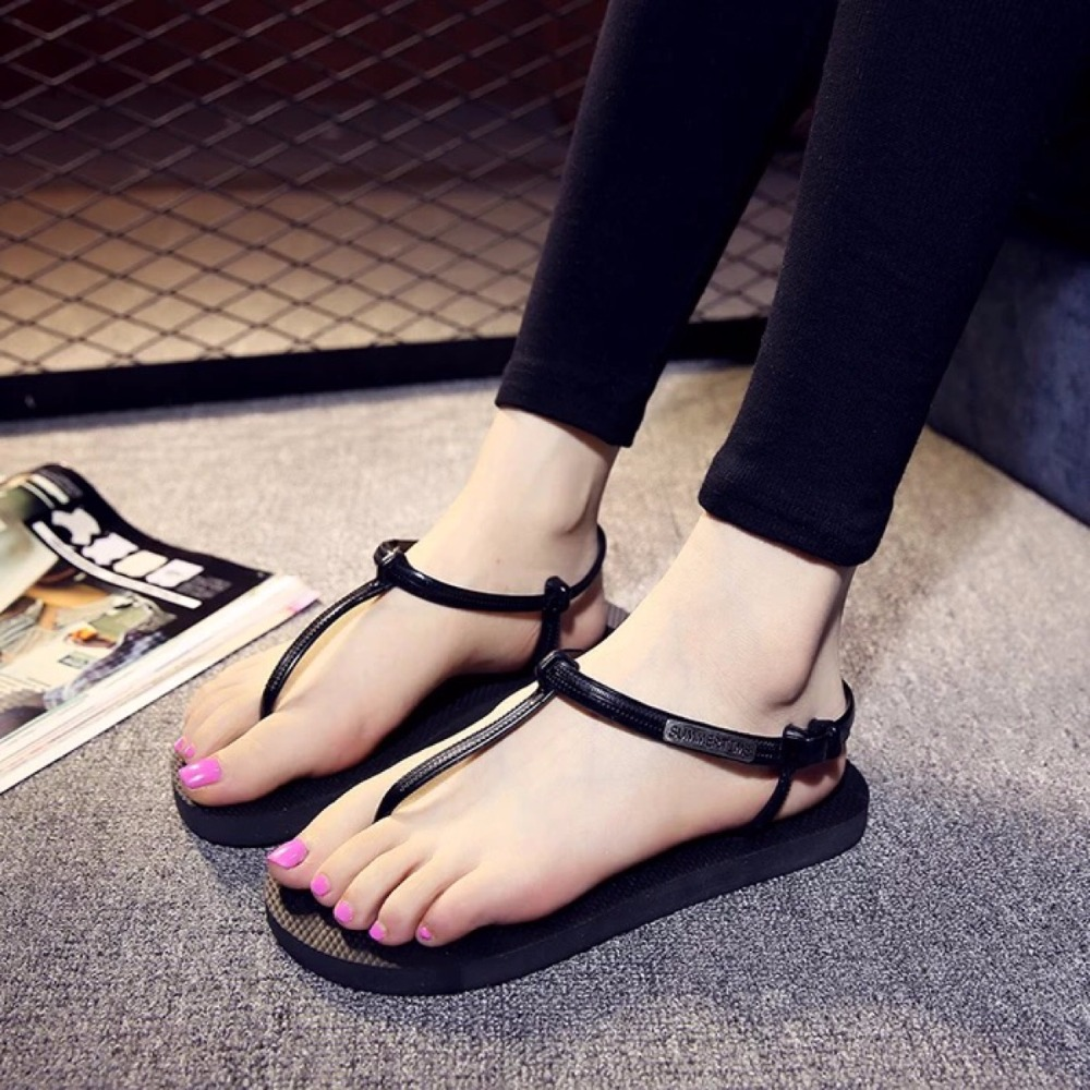 2016 Summer Women Sandals Quality Casual Female Girl T-Strap Flip Flops Wedges Flats Heel Thong zapatos mujer Girl Lady Shoes(China (Mainland))