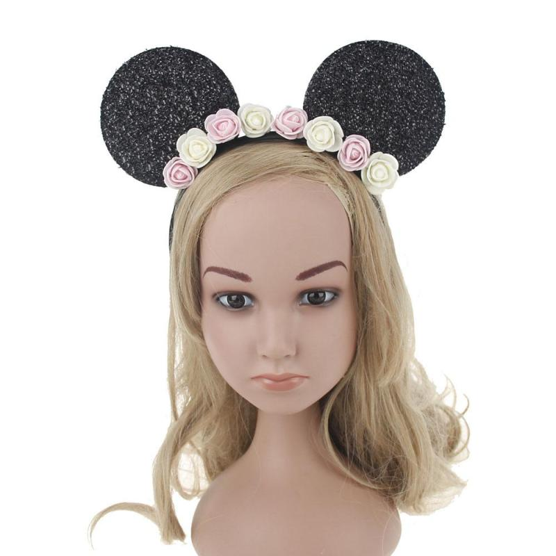 Cute Cartoon Flower Hairbands Children Girl Mickey Mouse Ears Headband Lovely Hair Accessories For Kids Woman C1(China (Mainland))