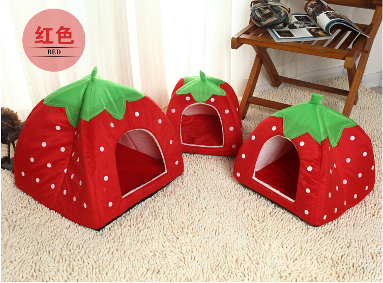 Factory Direct !!! New 100% Cottone Pet House Lovely strawberry kennel small cat and dog beds free shipping(China (Mainland))