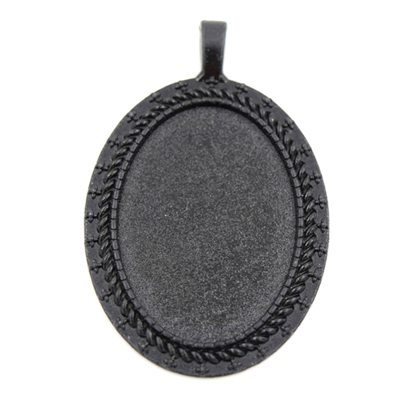 Black Trays Blanks Fit 25x35mm Cabochon 10Pcs/Lot DIY Cabochon Setting Pendant Jewelry Accessories chaine au metre pour bijoux(China (Mainland))